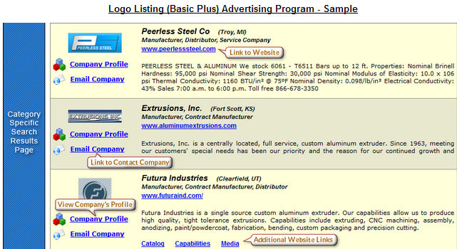 Basic Plus Advertising Program   Sample Screen Shots